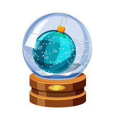 christmas snow globe with the falling snow with vector image