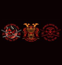 colorful samurai t-shirt designs vector image