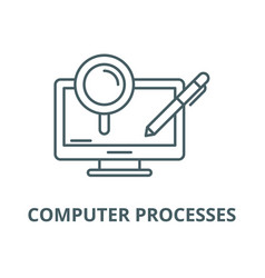 computer processes line icon linear vector image