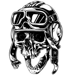 Crazy smiling old human skull in aviator helmet vector
