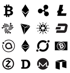 cryptocurrency signs and symbols icon set vector image