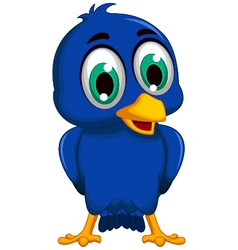 cute blue bird cartoon posing vector image