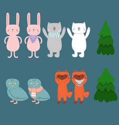 Cute cartoon funny animals bear bunny fox owl vector