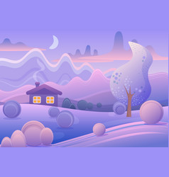 cute cartoon landscape with vector image