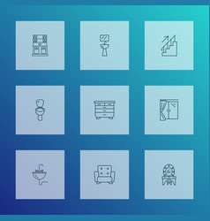 decor icons line style set with wash stand stairs vector image