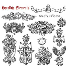 design set with heraldic elements isolated vector image