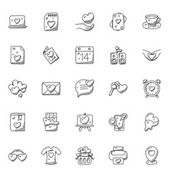 Doodle icon set of love and romance vector