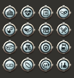 drug store icons set vector image