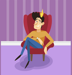 Egotistical modern prince sitting on a throne vector