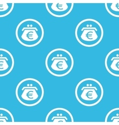 Euro purse sign blue pattern vector