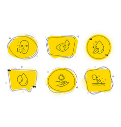face attention oil drop and eye drops icons set vector image