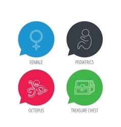 Female treasure chest and paediatrics icons vector