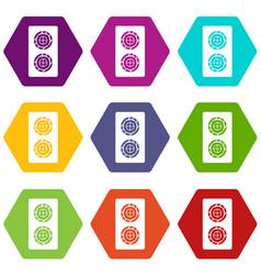 Fish roll icon set color hexahedron vector