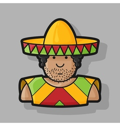 flat contour icon Mexican hat and cape vector image