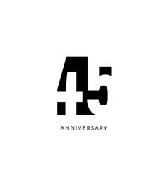 forty five anniversary minimalistic logo vector image