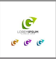 G leaf colorful logo design vector