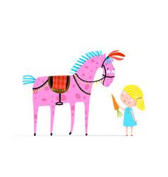 Girl feeding circus horse with carrot vector