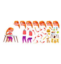 Girl schoolgirl kid redhead high school vector
