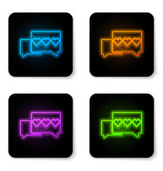 Glowing neon like and heart icon isolated on white vector