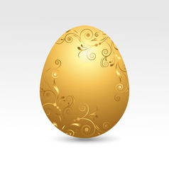 Golden Easter egg on white background vector image