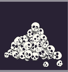 Hand drawn skull pile vector