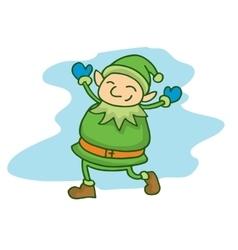 Happy green elf cartoon Chrisrmas theme vector image