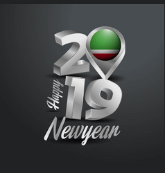 Happy new year 2019 grey typography with chechen vector