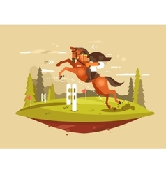 Horse and rider jumping hurdles vector
