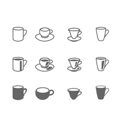 icon set cups and mugs vector image