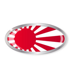 Japanese flag oval button vector