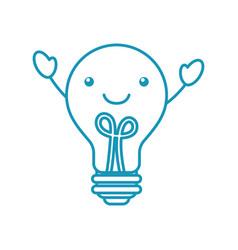 Kawaii bulb light idea creativity cartoon vector