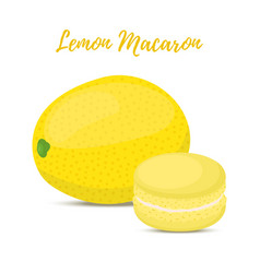 Lemon macaron with meringue cream vector