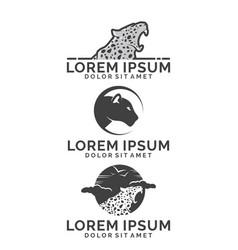 leopard logo set vector image