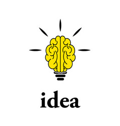 light bulb brain icon vector image