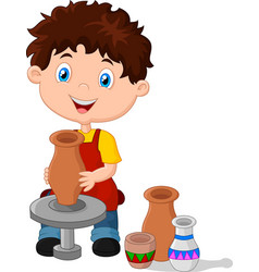 Little happy boy produced on potters wheel pot vector