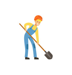 male miner in uniform working with shovel vector image