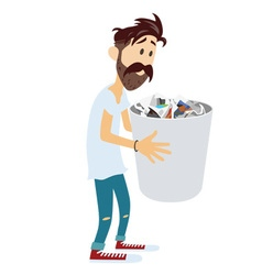 Man Holding Recycle Bin vector image