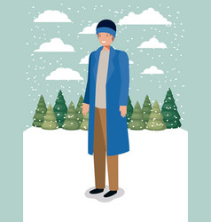 man in snowscape with winter clothes vector image