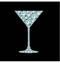 Martini cocktail made of diamonds vector