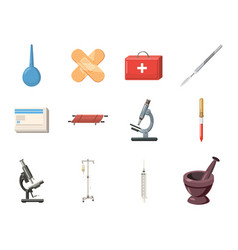 Medical tools icon set cartoon style vector