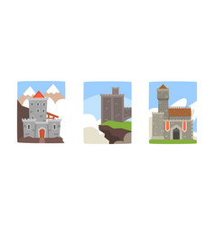 medieval castles collection ancient buildings on vector image