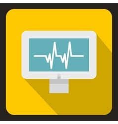 Monitor heartbeat icon flat style vector image