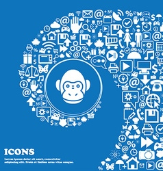 Monkey icon sign Nice set of beautiful icons vector image