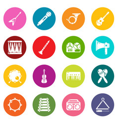 musical instruments icons set colorful circles vector image