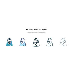 Muslim woman with hijab icon in different style vector