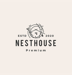 nest house hipster vintage logo icon vector image