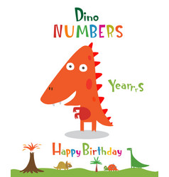 number 4 in form a dinosaur vector image