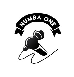 Number one logo with hand held microphone vector
