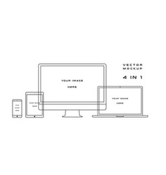 Outline computer monitor laptop tablet vector