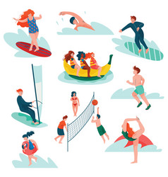 people relaxing at summer vacation set young man vector image